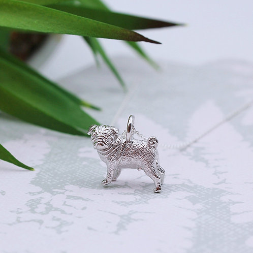 Sterling Silver Pug Necklace
