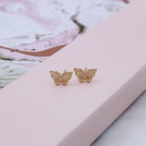 18ct Yellow Gold Vermeil Butterfly Stud Earrings