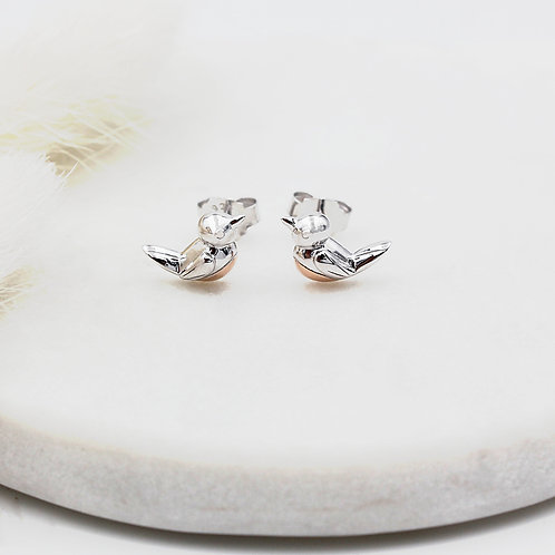 Sterling Silver with 18ct Rose Gold vermeil Robin Redbreast Stud Earrings