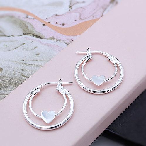 Sterling Silver Double hoop Heart Earrings