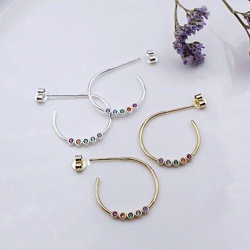 Sterling Silver or Yellow Goldplated Rainbow CZ Stud Hoops