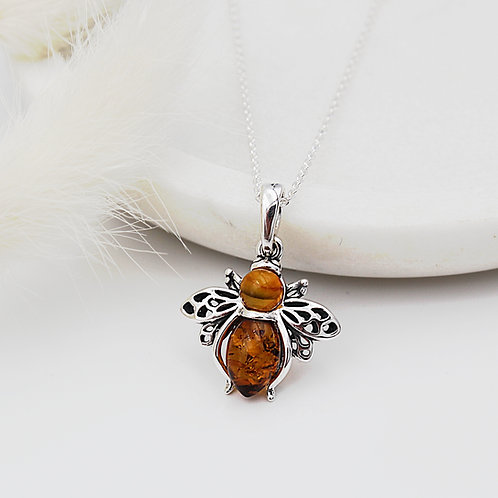 Bee Necklace in Solid Sterling Silver set with Amber