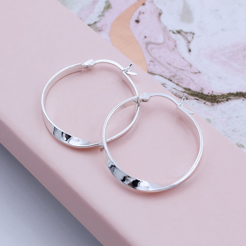 Sterling Silver Creole Flat twisted Hoop