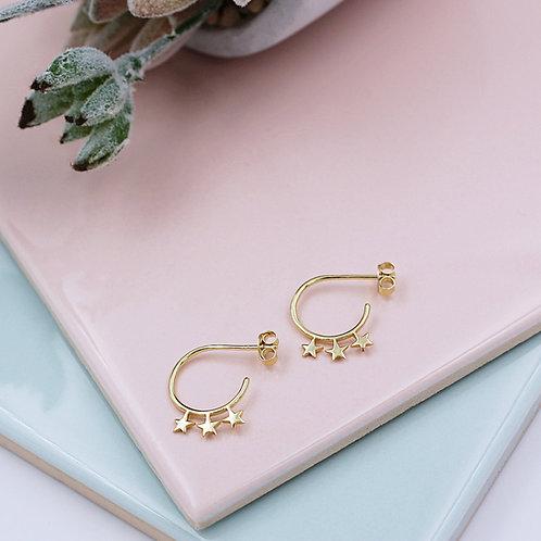Yellow Gold vermeil Star Stud hoop Earrings