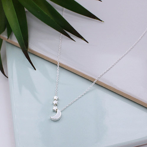 Sterling Silver Crescent Moon & 3 Stars Necklace