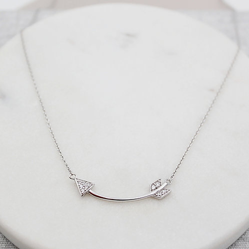 Sterling Silver Stone Set Arrow Necklace