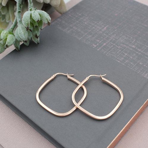 Rose Gold vermeil Square Hoop Earrings