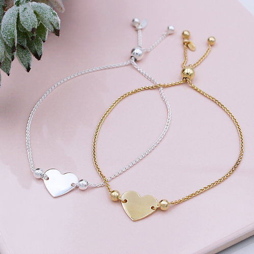 Silver or 18ct Yellow Gold Vermeil Heart Slider Bracelets
