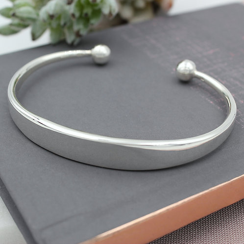 Sterling Silver Heavy Mens ID Torque Bangle