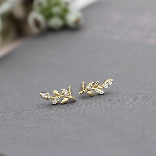 Yellow Gold vermeil Leaf Stud Earrings set with cubic zirconias
