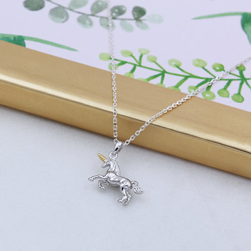 Sterling Silver & 18ct Yellow Gold vermeil Magical Unicorn Necklace