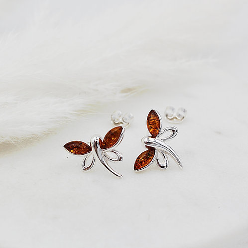 Dragonfly Earrings  Sterling Silver set with Amber