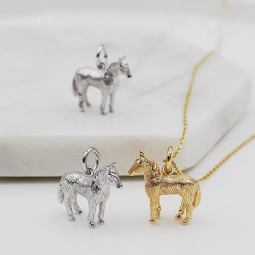 Solid Sterling Silver or Yellow gold plated Horse Necklace