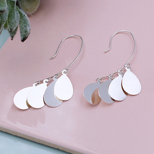 Silver fancy layered hook-in drop earrings