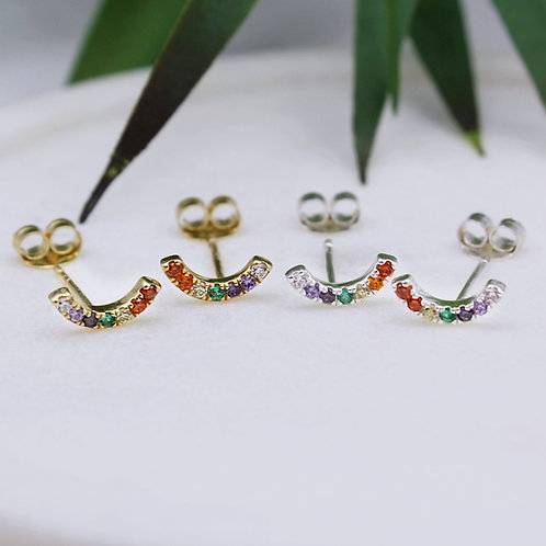 Sterling Silver or Yellow Goldplated Rainbow CZ Curve Stud Earrings
