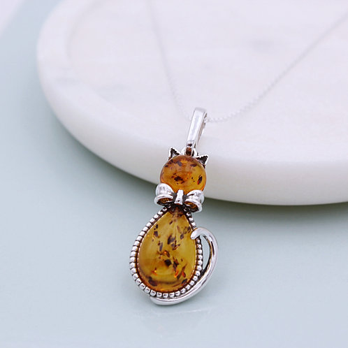 Sterling Silver Amber Cat Necklace