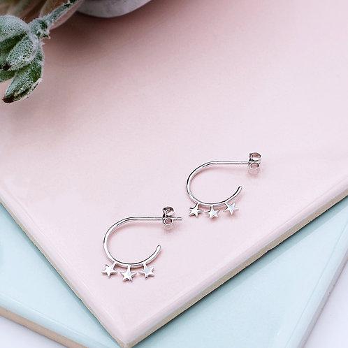 Sterling Silver Star Stud hoop Earrings