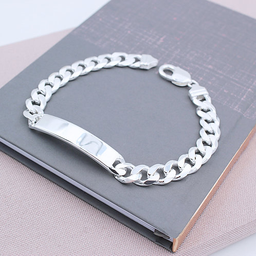 Sterling Silver Solid Mens Identity Curb Bracelet