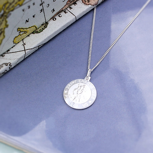 Polished Sterling Silver St Christopher Necklace