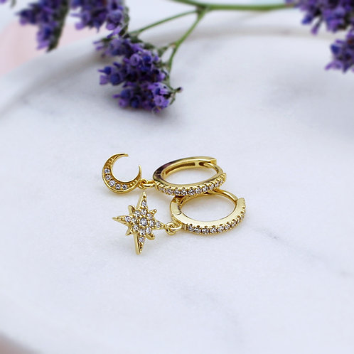 Yellow Gold Vermeil Moon & Star Stone Set Huggie Hoop Earrings