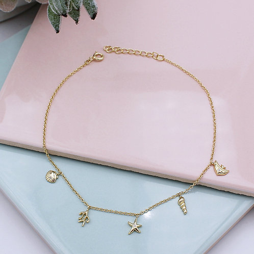 18ct Yellow Gold vermeil Beach Anklet