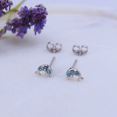 Sterling Silver Blue Crystal Set Dolphin Stud Earrings