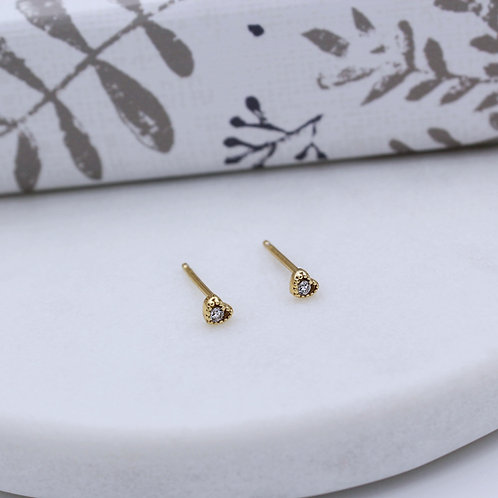 18ct Yellow Gold vermeil tiny Heart Studs set with cubic zirconia