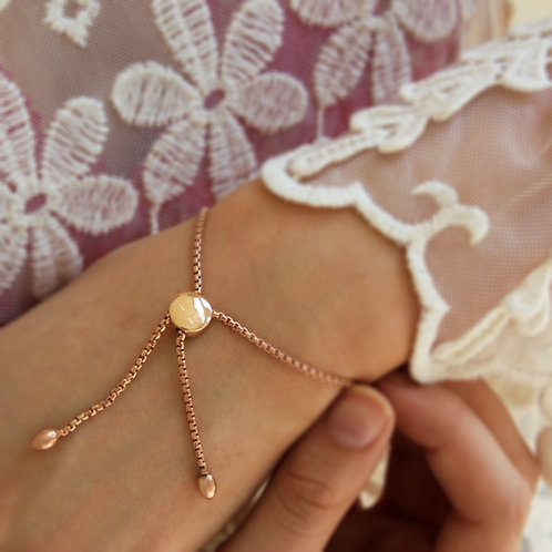 18ct Rose Gold vermeil Personalised Slider Bracelet