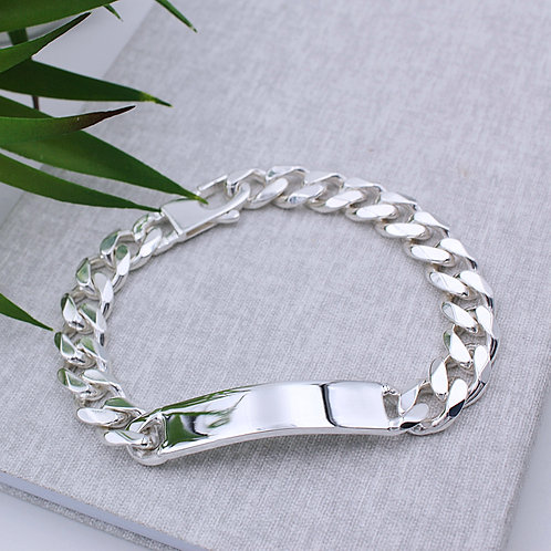 Sterling Silver Solid Heavy Mens Identity Curb Bracelet