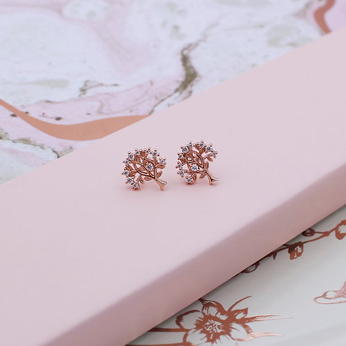 18ct Rose Gold Vermeil with cubic zirconia Tree of Life Stud Earrings