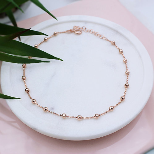 18ct Rose Gold vermeil Ball Anklet