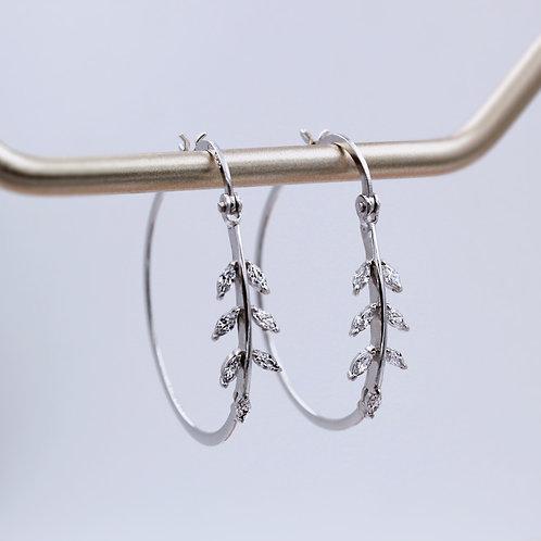 Sterling Silver Leaf Design Large Hoop Earrings