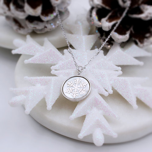 Silver Cubic Zirconia & Mother of Pearl Snowflake Necklace