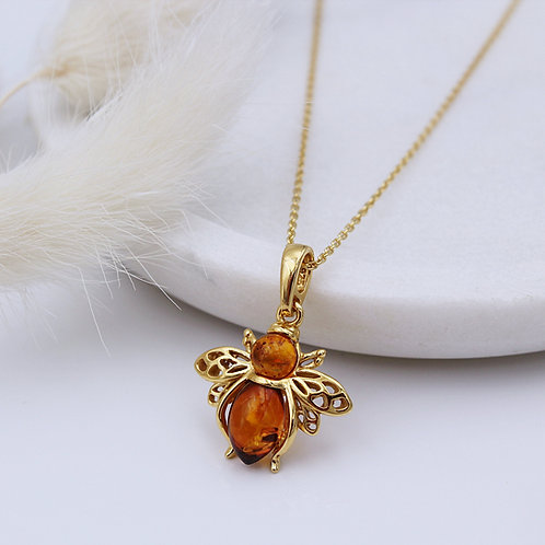 Bee Necklace in Gold Plated Silver set with Amber