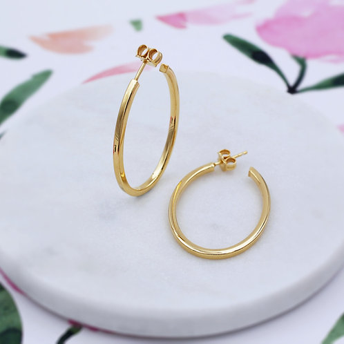 18ct Yellow Gold Vermeil Oval Hoop Earrings