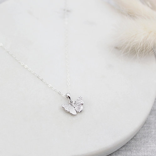 Silver tiny detailed Butterfly Necklace