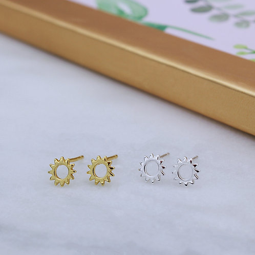 Sterling Silver or 18ct Yellow Gold Vermeil Open Sun Studs