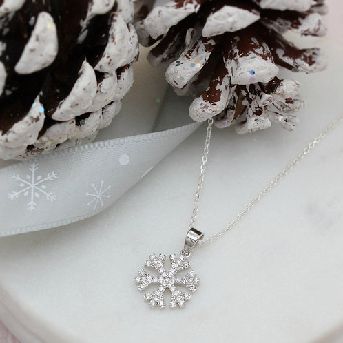 Silver Snowflake Stone Set Sparkly Necklace