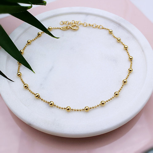 18ct Yellow Gold vermeil Ball Anklet