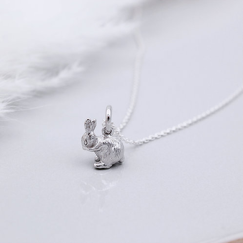Sterling Silver solid Bunny Rabbit Necklace