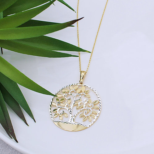 Sterling Silver & Gold Tree of Life Necklace
