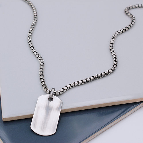 Sterling Silver oxidised heavy box chain dog tag necklace