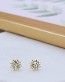 18ct Yellow Gold Vermeil Sun Studs set with cubic zirconia