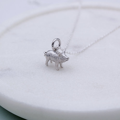 Sterling Silver mini Pig Necklace