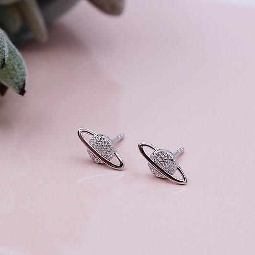 Silver Stone Set Saturn Planet Stud Earrings