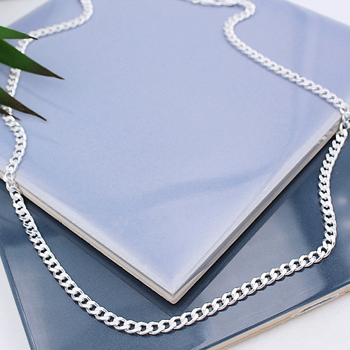 Sterling Silver Solid Mens Curb Necklace