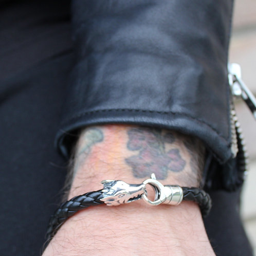 Mens Leather Bracelet with Silver Wolf Head Clasp