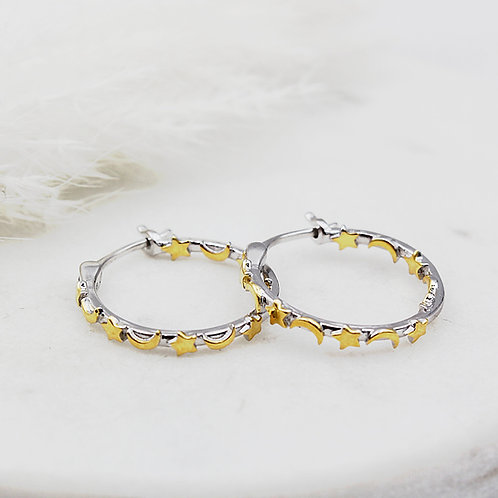 Sterling silver and 18ct Yellow Gold vermeil Moons and Stars hinged hoops