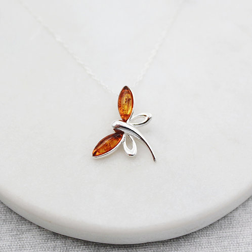 Dragonfly Necklace Sterling Silver set with Amber