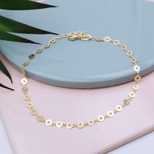 Yellow goldplated fancy Disc Anklet